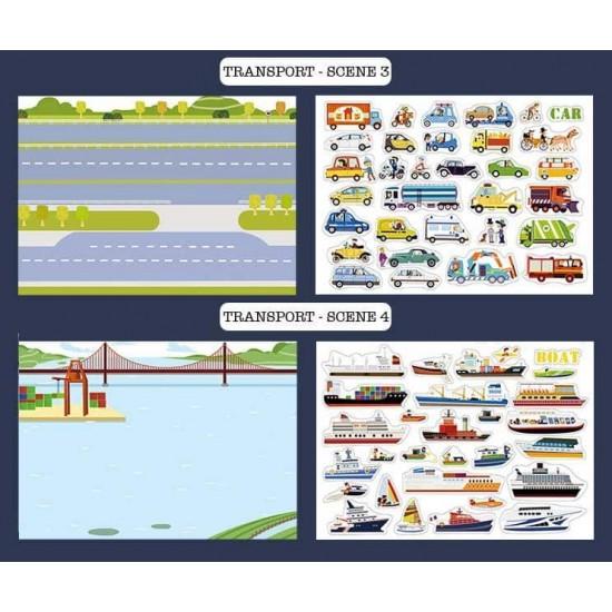 Set 110 abțibilduri reutilizabile Vehicule de transport Mideer