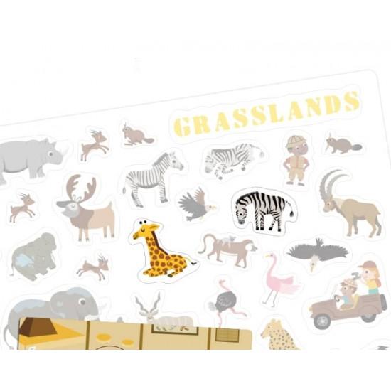 Set 200 abțibilduri reutilizabile Animale Mideer