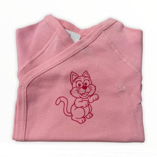 "Body bebe model cu 7 capse si maneca lunga, ""Pisicuta roz"""