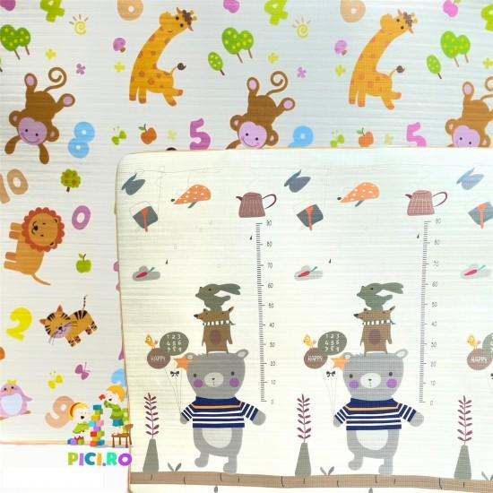 Covor de joaca din spuma cu doua fete Animale 180 x 200 cm