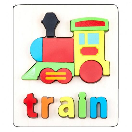 Puzzle Din Lemn Cuvinte In Limba Engleza Tren Train