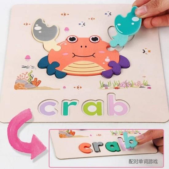 Set 6 puzzle Animale cu litere incluse