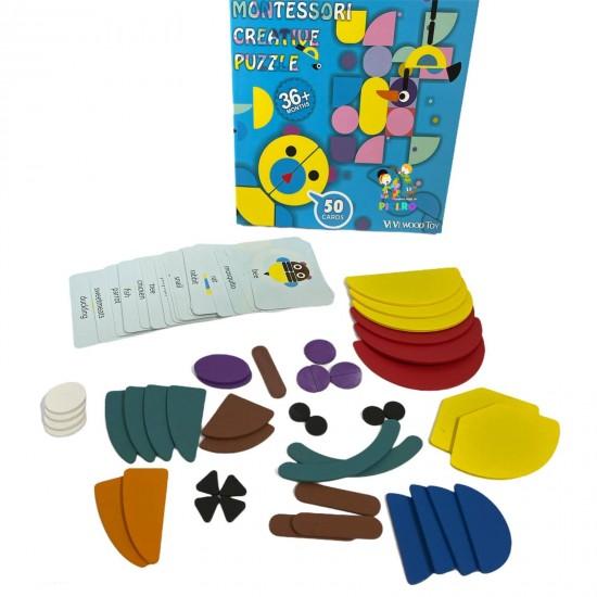 Joc creativ Tangram Montessori cu animale