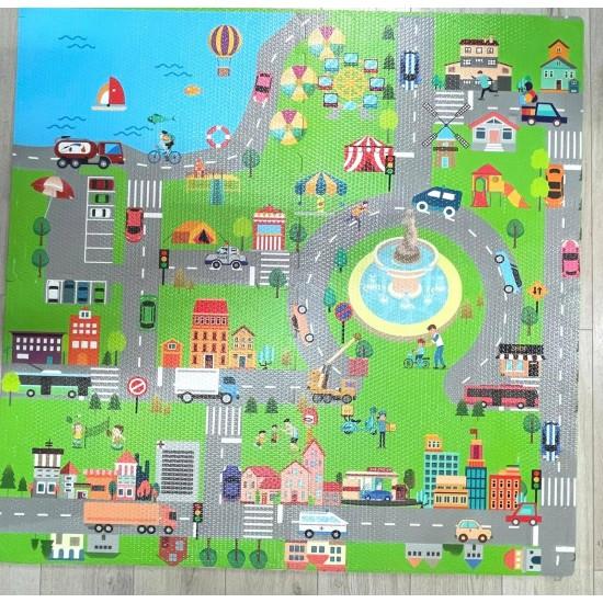 Covor Puzzle Orasul cu Traseu pentru masinute