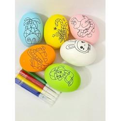 Set 6 Oua  colorate cu mini carioci Activitati Paste