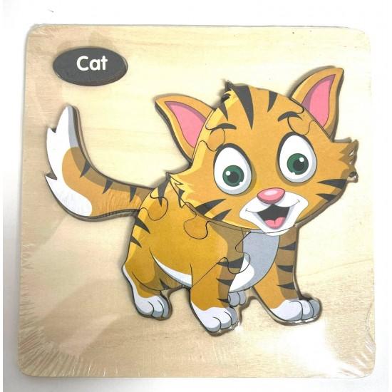 Puzzle 3D din lemn Pisica Cat